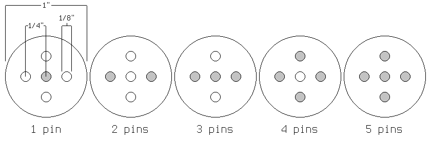 Socket layout with pin combinations